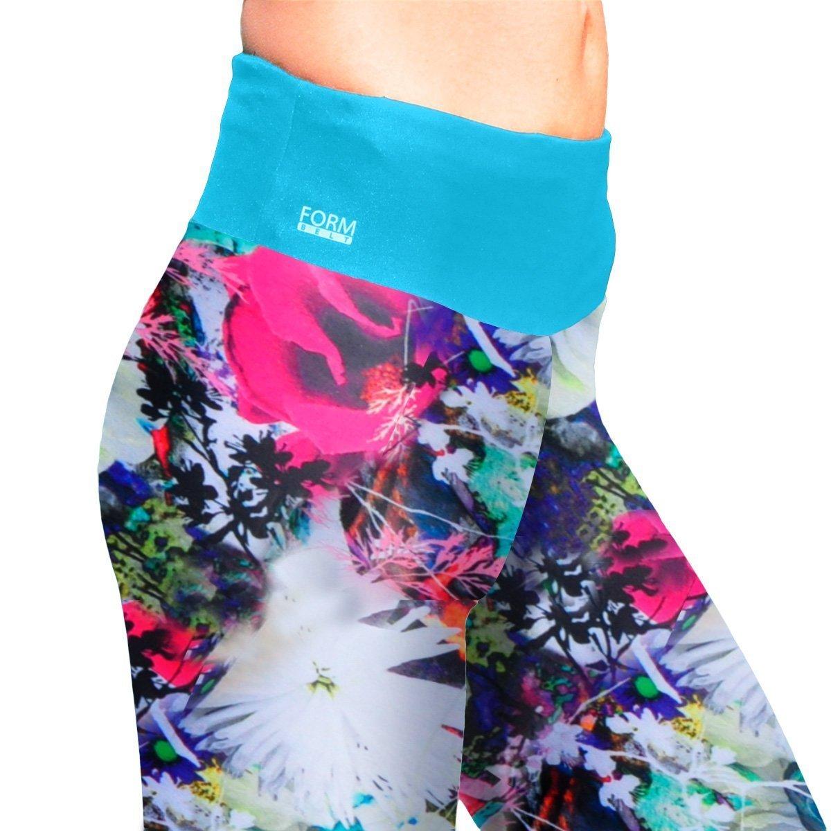 Damen Sport Leggings mit Blumenmuster und Taschen für das Handy