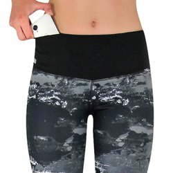 Damen Sport Leggings mit Marmormuster und Taschen für das Handy
