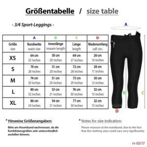 Größentabelle Sport Leggings