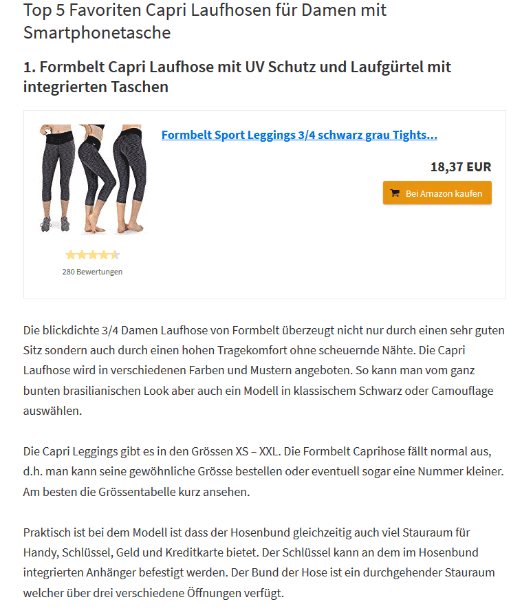 pressebericht laufhose capri formbelt