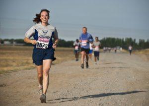 Läuferin glücklich