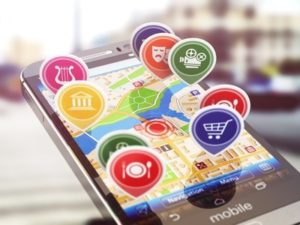 Mobile GPS navigation concept. Smartphone and application with restaurants, cinema, markets. 3d illustration