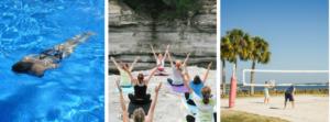 Hilft gegen das schlechte Gewissen im Urlaub - Schwimmen, Yoga & Beachvolleyball!