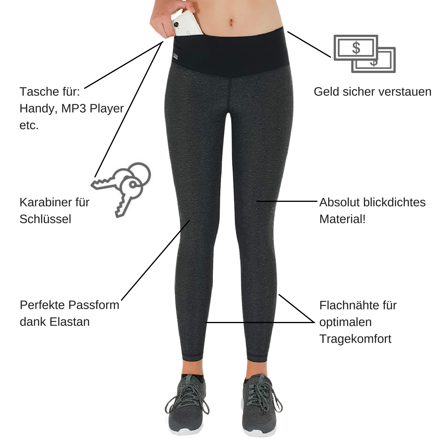 Damen Leggings Lang - Infografik