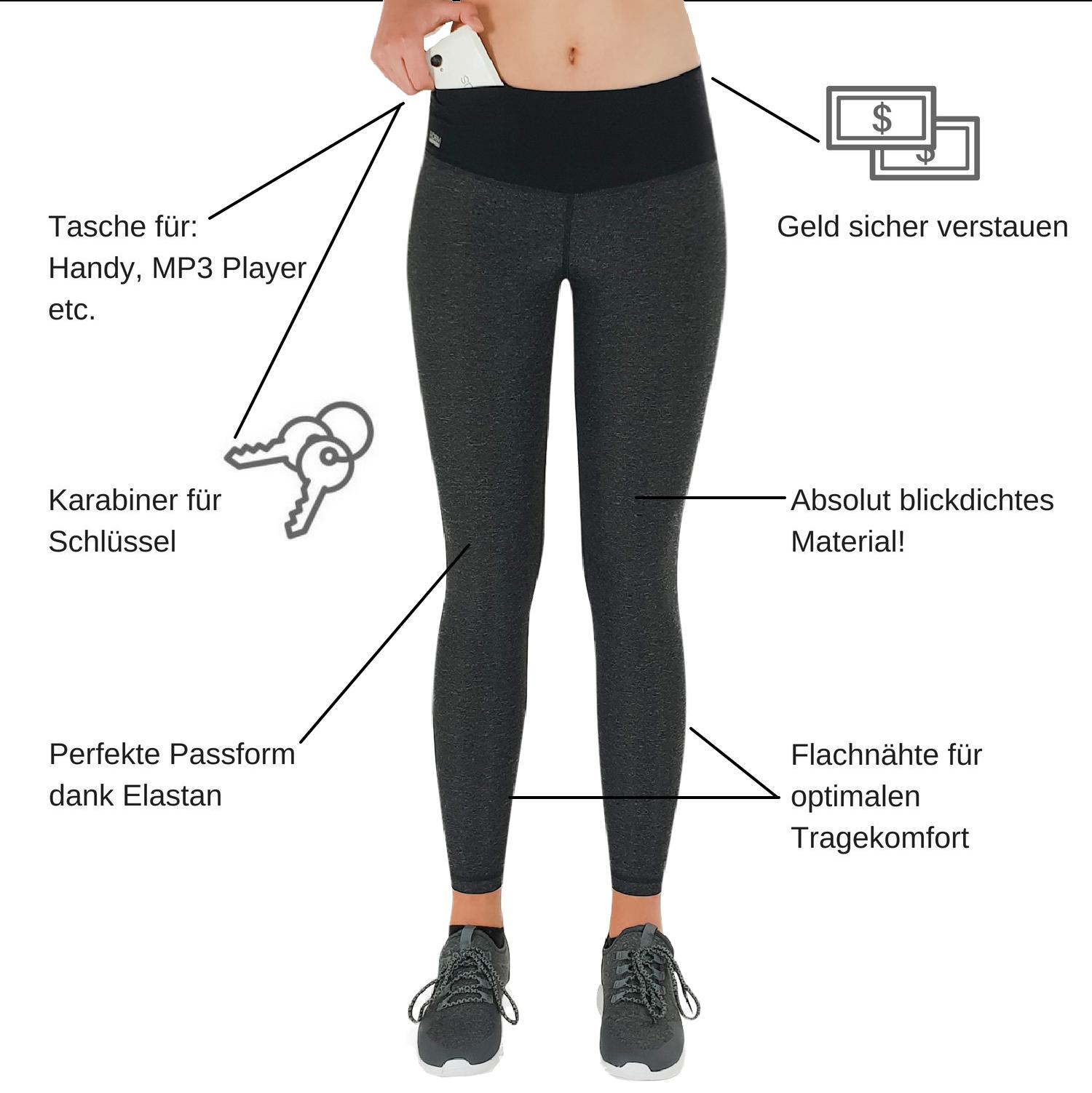 damen sport leggings schwarz grau mit taschen online g nstig kaufen. Black Bedroom Furniture Sets. Home Design Ideas