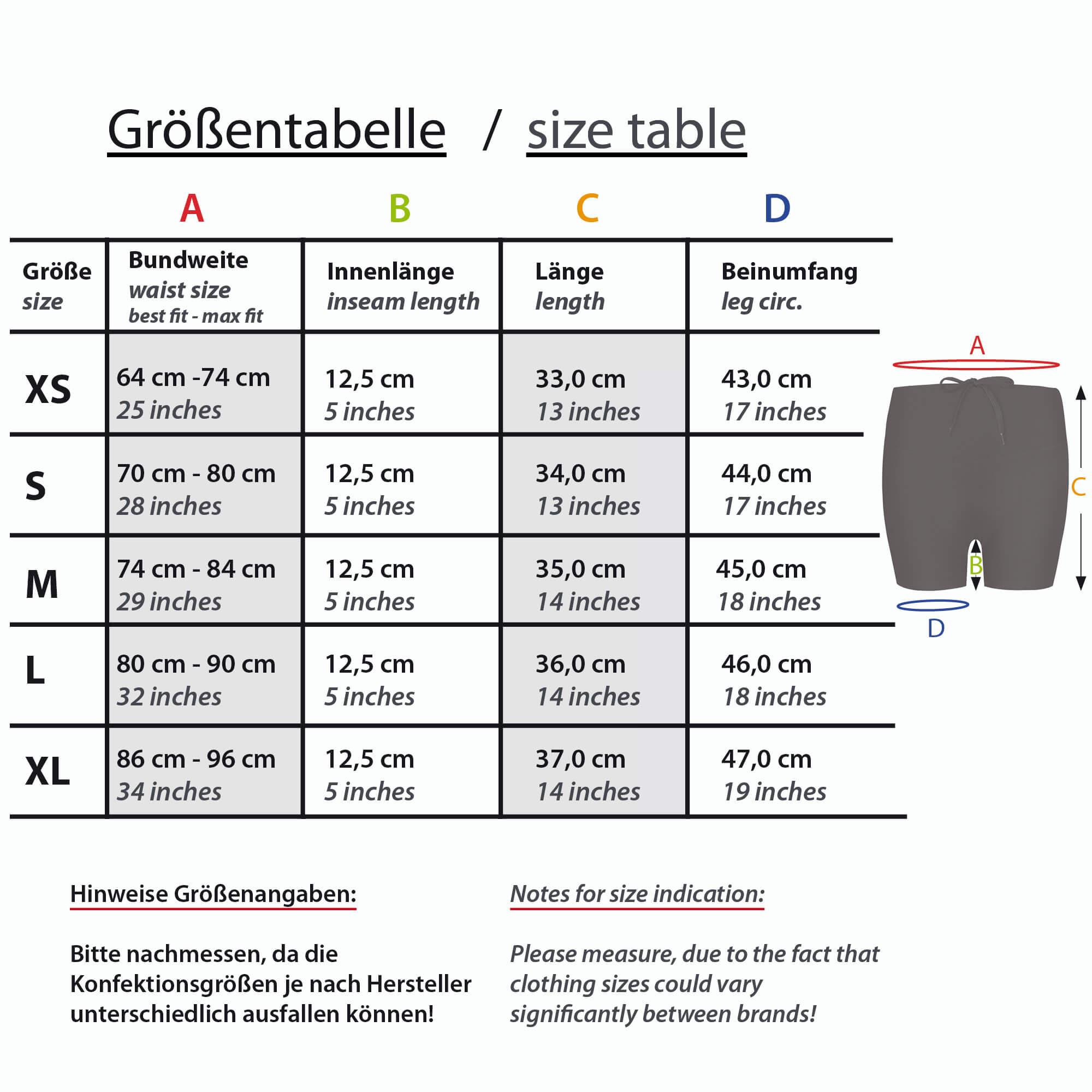 Lauf shorts Größentabelle Formbelt