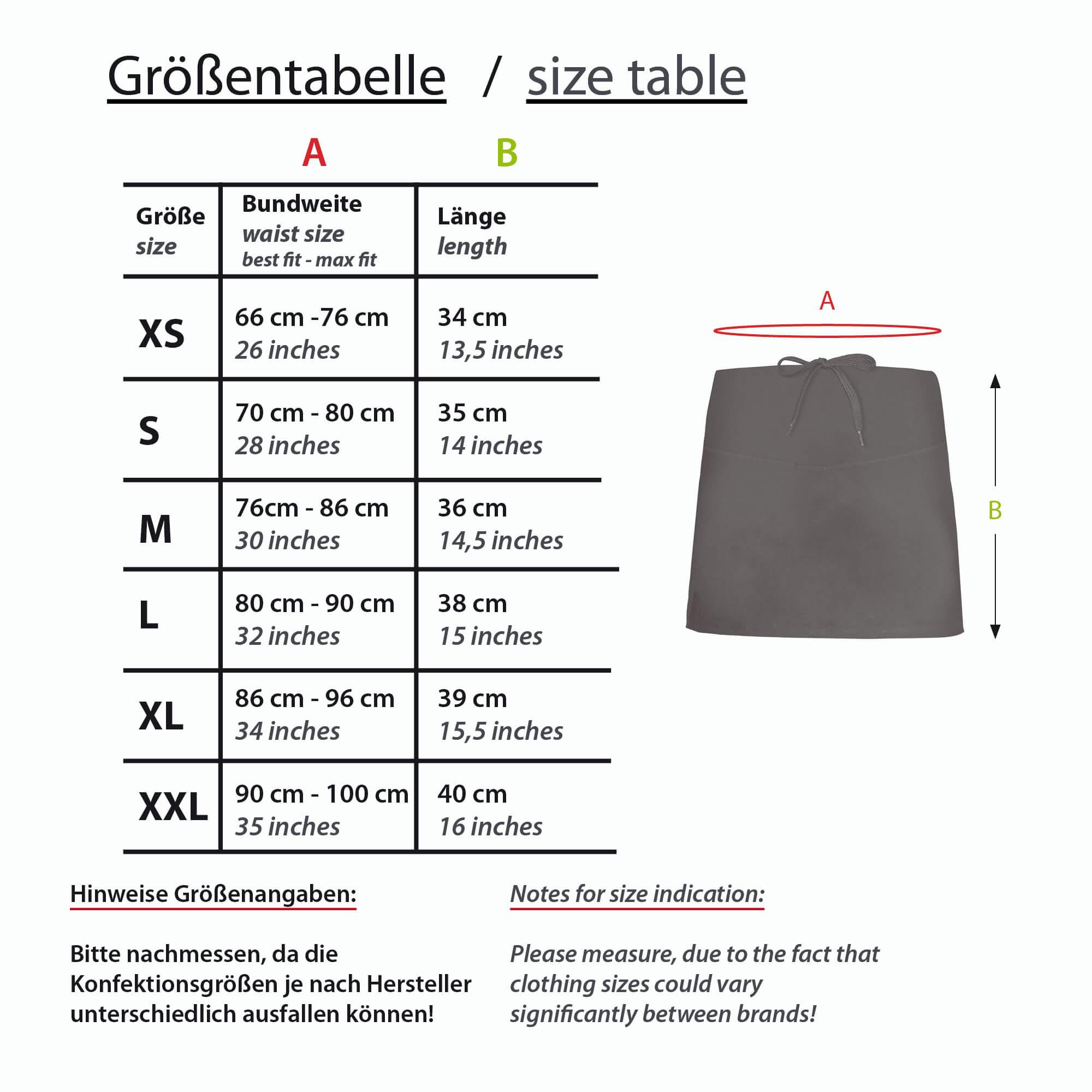 Formbelt Größentabelle Skirt Laufrock