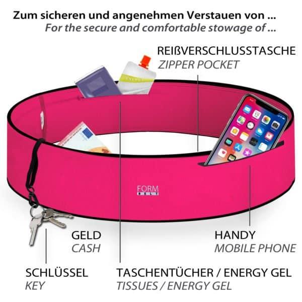 Laufgürtel Pink Plus mit Reißverschluss