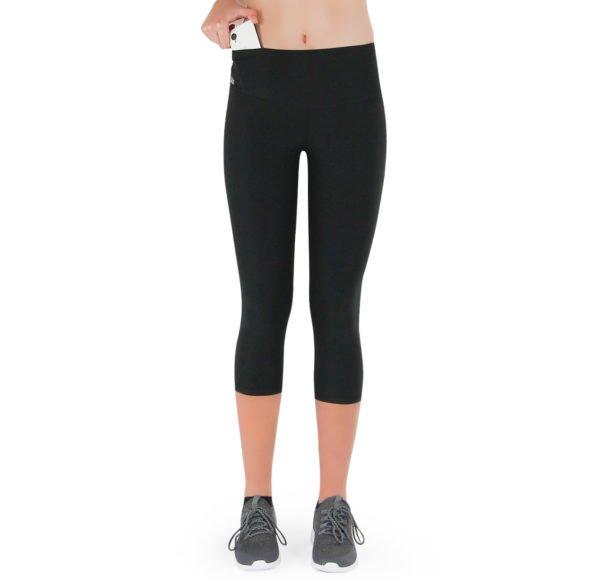 Formbelt-Sport-Leggings-Damen-Capri-dreiviertel-Hüfttasche-schwarz
