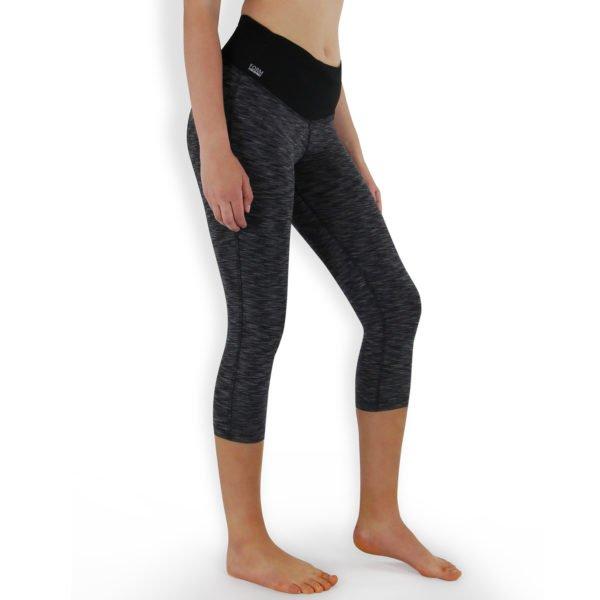 Formbelt-Sport-Leggings-Damen-Capri-dreiviertel-Hüfttasche-schwarz-grau-01