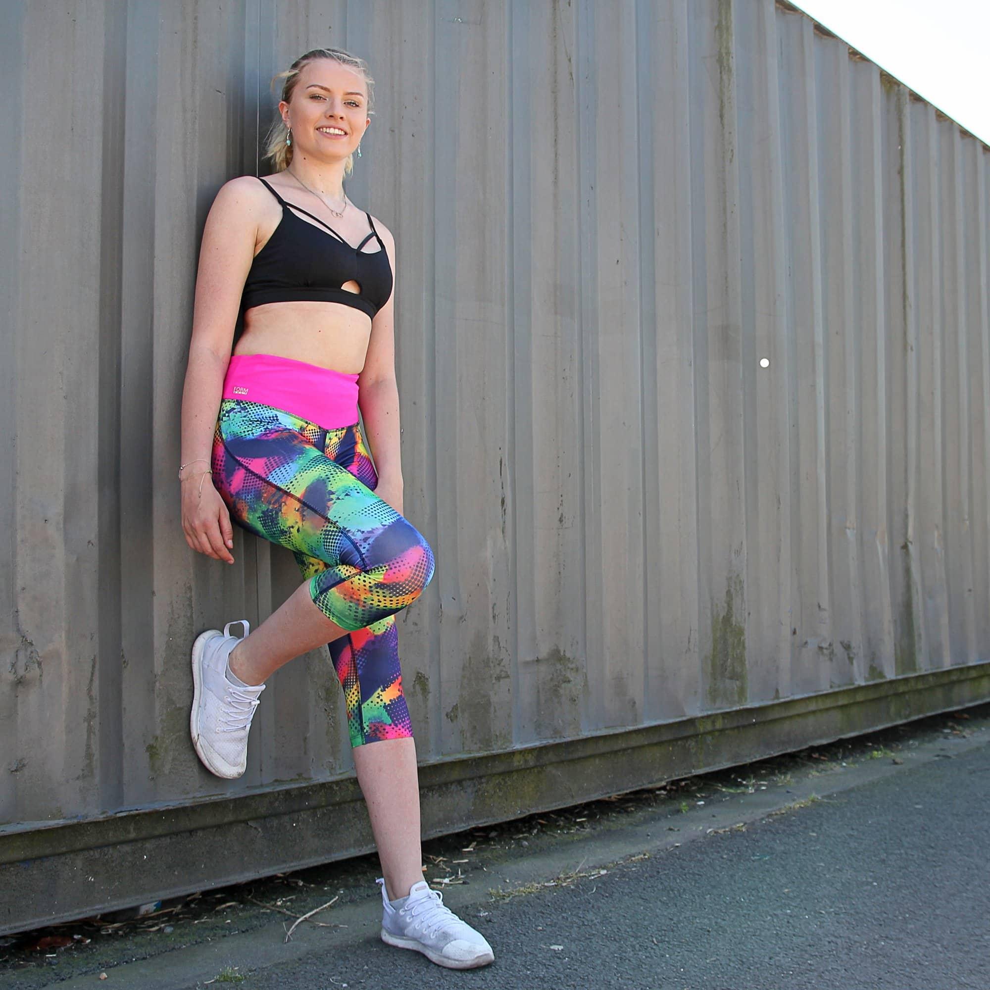 Damen Sport Leggings schwarz mit Taschen